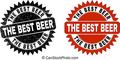 THE BEST BEER Black Rosette Stamp with Unclean Surface