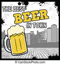 The best beer in town retro poster
