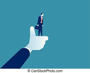 The best businessman of corporation, manager thumbs up. Concept business worker illustration. Vector cartoon character and abstract