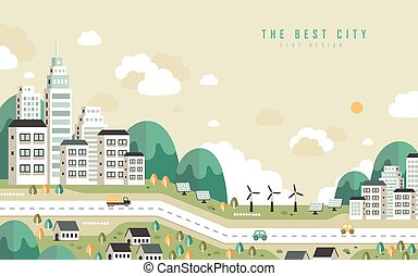 the best city scenery in flat design style