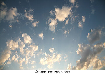 The best cloud against the beautiful sunset in the endless blue sky