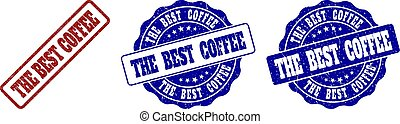 THE BEST COFFEE Scratched Stamp Seals