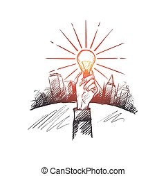 The best idea concept. Hand drawn isolated vector