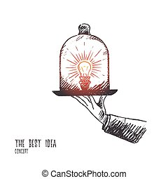 The best idea concept. Hand drawn isolated vector.