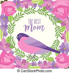 the best mom cute bird wreath floral flowers border decoration