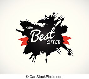The Best Offer sign on black splash label with red ribbon.