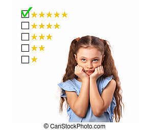 The best rating, evaluation, online rewiew. Business thinking stress kid girl looking up and voting to five yellow star to increase ranking isolated on white background