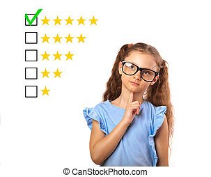 The best rating, evaluation, online rewiew. Business thinking study kid girl in spectacles voting to five yellow star to increase ranking isolated on white background