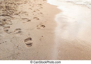 The best relax freedom on the retro beach with footprint and the soft sunlight