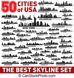 Super city skyline set. 50 vector city silhouettes of USA