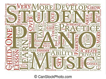The Best Way To Learn The Piano text background word cloud...