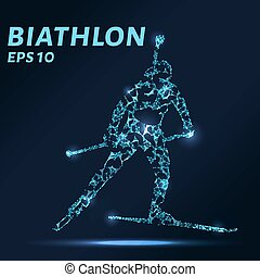 The biathlon consists of points, lines and triangles. The polygon shape in the form of a silhouette on a dark background. Vector illustration. Graphic concept biathlon
