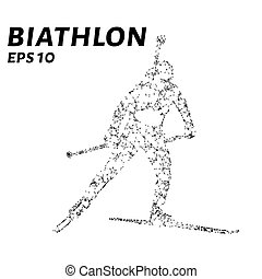 The biathlon consists of points, lines and triangles. The polygon shape in the form of a silhouette on a dark background. Vector illustration.