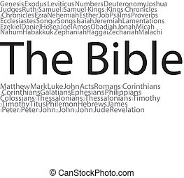 A word cloud of the books of the Bible.