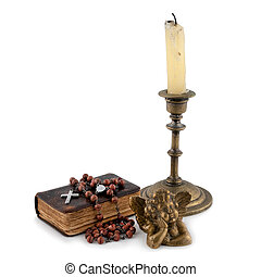 the bible with beads, an angel and candles 3 - the bible...