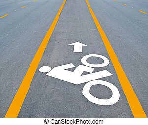 The Bicycle road sign painted on the pavement