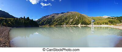 the Big Almaty lake in the mountains