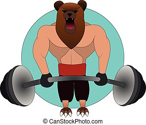 the big angry bear with the human body in the gym raises the...