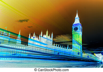 The Big Ben and the House of Parliament in art style at night, London, UK
