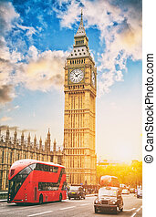 The Big Ben and the House of Parliament with double deckers, London, UK.