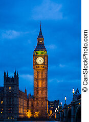 The Big Ben House of Parliament during blue hour
