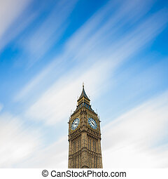 The Big Ben. Long exposure on moving cloud.