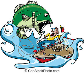 Cartoon of a fisherman catching a monster fish. Vector file.
