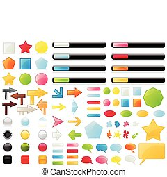 The big collection of buttons of different colours. A vector illustration