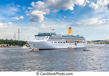 The big Cruise Ship in Stockholm, Stockholm, Sweden in a...