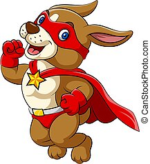 The big dog with happy face and wearing all red superheroes costume