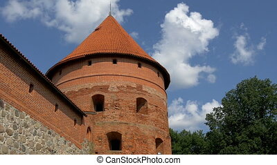 The big dome tower of the old castle in Trakai