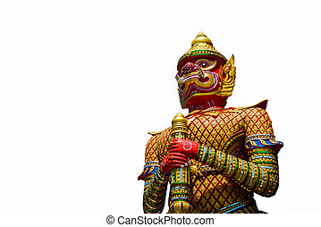 The Big Giant guardian statue isolated on white background in Thai Temple, Thailand