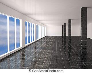 The big hall - A large hall with columns