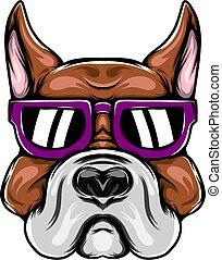 The big head pitbull for the mascot inspiration with purple sunglasses