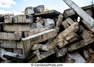The big heap of the damaged concrete blocks