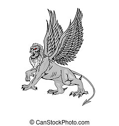 Mythological griffin on a white background. Vector