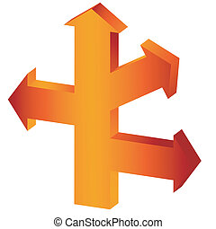 The big orange arrow-index with three lateral branches. It is isolated on a white background