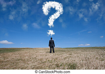 The big question - businessman standing alone at the field ...