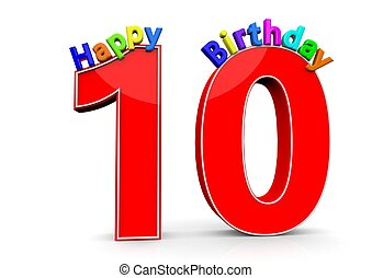 The big red number 10 with Happy Birthday