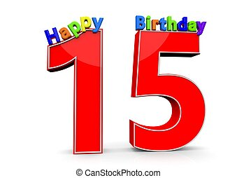 The Big Red Number 15 With Happy Birthday In Colorful