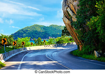 The Big Rock road at Lamai, Samui Island, Thailand, local ...