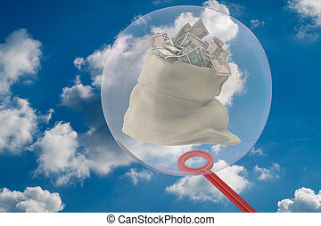 The big soap bubble encloses a sack full of money 3D-Illustration