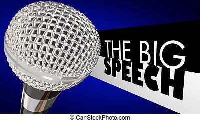 The Big Speech Keynote Microphone Public Speaker 3d Illustration