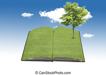 The big tree growing from a book.
