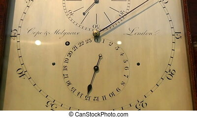 The big wall clock in a wooden frame
