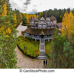 The big wooden house in forest, aerial view of rural area with lake Boroye in autumn, national park Valday, Russia, panoramic image, a golden trees, wooden lodges, cloudy weather