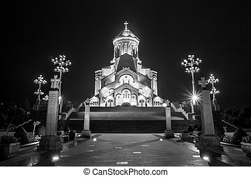 The biggest orthodox cathedral of Caucasus region - Sameba cathedral in Tbilisi at night (black and white), Republic of Georgia