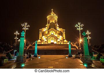The biggest orthodox cathedral of Caucasus region - Sameba cathedral in Tbilisi at night, Republic of Georgia
