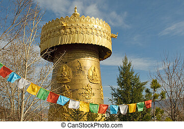 the biggest tibetan prayer wheel in the world, shangri-la,...