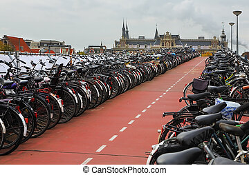 The bike parking in Amsterdam